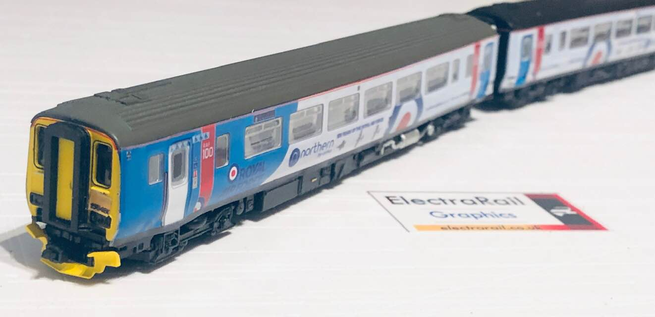 N Gauge Class 156, no 156480 in RAF 100 Colours